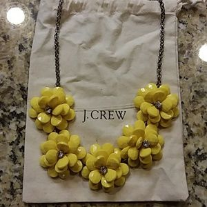 J. CREW Yellow Flower Crystal Necklace, Pouch